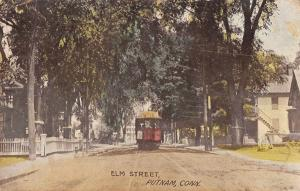 Putnam Connecticut Elm Street Trolley Antique Postcard (J32652)