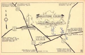 Asheville NC~Milestone Court~Roadside Motel~Highway Map Postcard~Compass~1950s