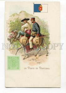 3090478 PORTUGAL FLAG STAMP & postman Vintage lithograph PC
