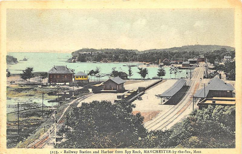 Manchester by-the-Sea MA  Railroad Station Train Depot Harbor Spy Rock Postcard