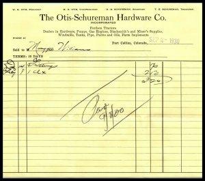 1930 Billhead / Receipt - Otis Schureman Hardware Co, Fort Collins, Colorado A2