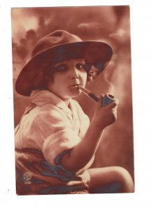 HI1038  NAUGHTY LITTLE BOY SMOKING A PIPE BIG HAT RPPC