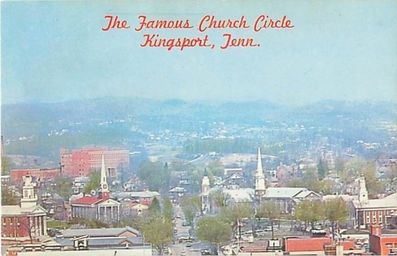 Kingsport, Tennessee Famous Church Circle Aerial View Vintage Postcard