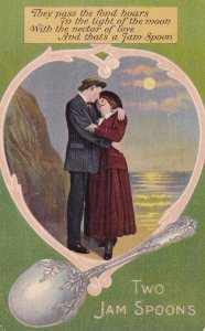TWO JAM SPOONS, 1900-10s; Couple Cuddling on the beach, Poem