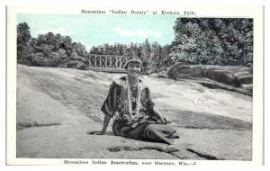 1927 Menominee Indian Beauty at Keshena Falls, near Shawano, WI Postcard