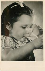 German or Dutch Real Photo Postcard~Closeup Lass Takes a Drink From Glass 1940