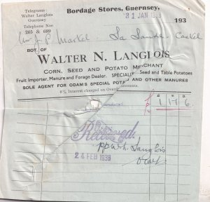 Bordage Potato Seed Fruit Stores Guernsey 1938 Receipt