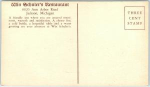 Jackson, Michigan Postcard WIN SCHULER'S RESTAURANT 6020 Ann Arbor Rd. Roadside