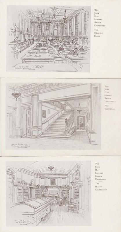 (3 cards) John Hay Library - Brown University, Providence RI, Rhode Island