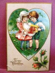 Postcard Valentine Boy and Girl Picking Cherries H.I. Robbins