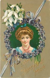 One of the Girls from Thornfield Michigan~Victorian Lady in Violets Frame~1912