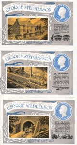 George Stephenson His Birthplace Work Tunnel 3x Train Postcard s