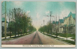 Anderson Indiana~Eleventh St.~Track Down Middle of St.~Houses~1910