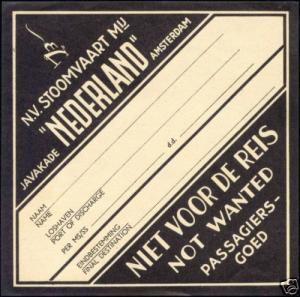 Stoomvaartmaatschappij Nederland LUGGAGE LABEL 1920s