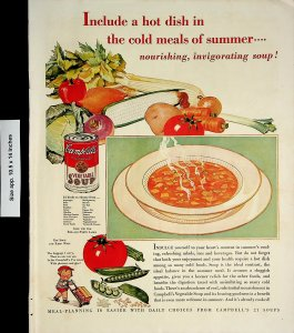 1932 Campbell's Vegetable Soup Delivery Boy Tomato Onion Vintage Print Ad 4145