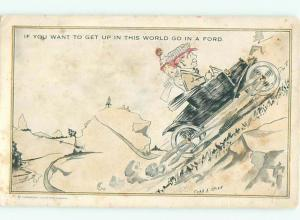 Pre-Linen Comic FORD CAR GOING UP THE HILL AB9544