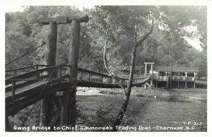 Postcard Swing Bridge to Chief Saunooke's Trading Post Cherokee NC