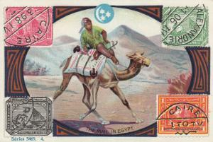 TC: The Mail in EGYPT , Mail man on camel & Stamps , 1880-90s
