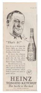 Heinz Tomato Ketchup, Smiling Man Vintage 1927 Print Ad