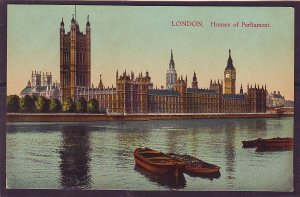 P1432 old unused postcard river boats view houses of parlliament london england