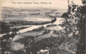 Milford Pennsylvania View Down Delaware Scenic Antique Postcard (J32634)