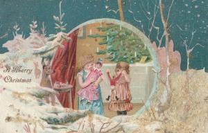 Victorian Christmas~Little Girls With Toys Under Candle Tree~Deer in Snow~Night