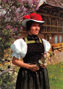 Schwarzwald Gutacher Tracht Woman with Bouquet Traditional Costume