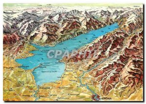 Postcard Modern geographical map of Lake Garda