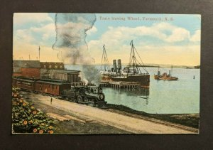 Mint Vintage Train Leaving the Wharf Yarmouth NS Canada Picture Postcard