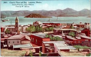 GUAYMAS, Mexico  View of CHURCH, PLAZA & BAY   c1910s     Postcard