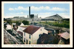 dc1379 - TROIS RIVIERES Quebec Postcard 1930s International Paper Plant