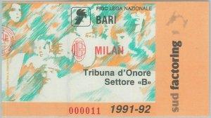74252 - Vecchio  BIGLIETTO PARTITA CALCIO - 1991 / 1992 :  BARI - MILAN