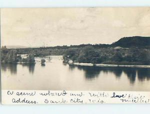 1906 rppc WATER SCENE Card Writer Says This Is Sauk City Wisconsin WI HM2493