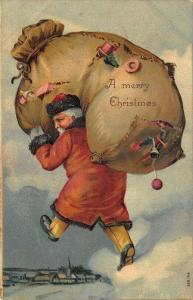 A Merry Christmas Red Robed Santa Claus 2 Giant Bag Toys 41921 Embossed Postcard