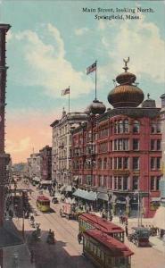Massachusetts Springfield Main Street Looking North Trolleys