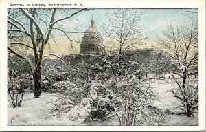 Vtg 1920s US Capitol in Winter Washington DC Unused Postcard