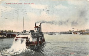 F50/ Oshkosh Wisconsin Postcard 1908 Fox River Thistle Sternwheeler