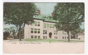 High School Milford Massachusetts 1908 handcolored postcard