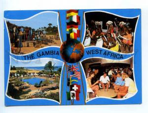 250865 WEST AFRICA GAMBIA multi-views collage RPPC to SWEDEN