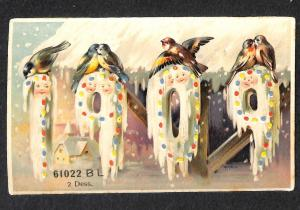 New Years 1909 Hold-To-Light H-T-L Postcard
