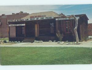 Unused Pre-1980 WESTERN OLD WEST - JUDGE ROY BEAN MUSEUM Pecos Texas TX d9192
