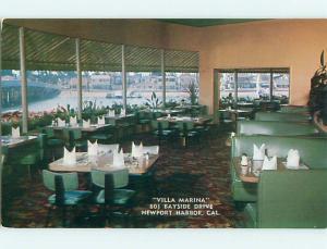 Unused Pre-1980 VILLA MARINA RESTAURANT Newport Harbor California CA v6565