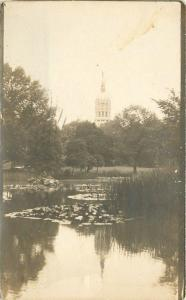 1915 Hartford Connecticutt State Capitol Lily Pond RPPC real photo 1605