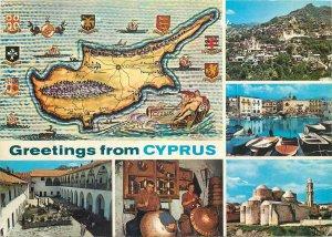 Postcard Cyprus multi view map island marmaid boat port church workers handmade