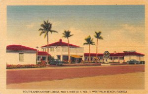 SOUTHLANDS MOTOR LODGE West Palm Beach, Florida ca 1940s Vintage Linen Postcard