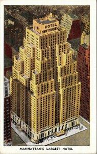 Postcard NY New York NYC Hotel New Yorker Manhattan Largest Hotel