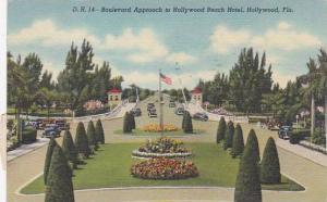 Florida Hollywood Boulevard Approach To Hollywood Beach Hotel 1946