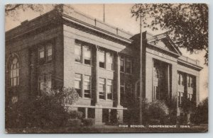 Independence Iowa~High School~Sidelong View~1940s Sepia Litho~Artvue Postcard