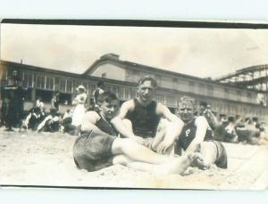 rppc Pre-1918 Possible Gay Interest MEN AT THE BEACH SITTING TOGETHER AC7732