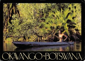 Africa Postcard, Okavango, Botswana, Native in Canoe on River GN6